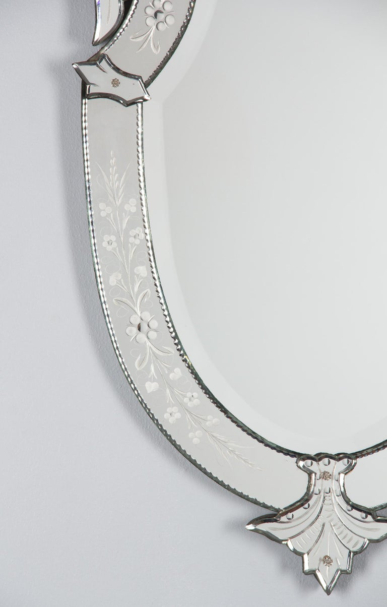 Midcentury French Venetian Glass Mirror For Sale 1