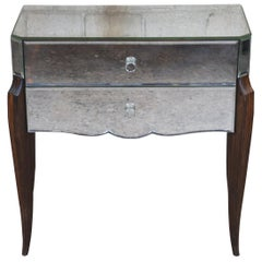 Mid Century French Venetian Mirrored Ebony Nightstand Entry Chest Console Table