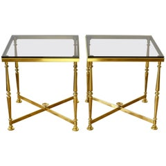 Midcentury French Vintage Pair of Solid Cast Brass Side/ End Tables, circa 1970s