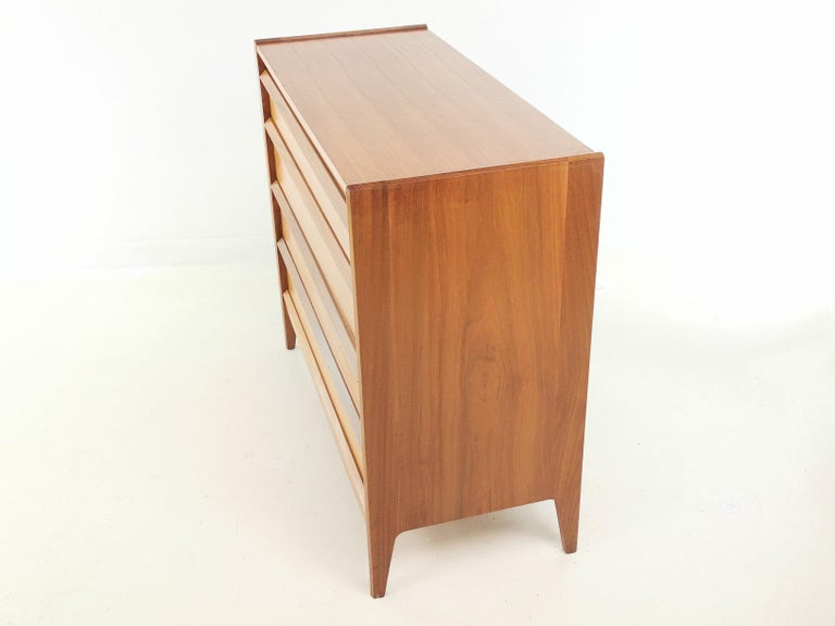 Mid-Century Modern Midcentury French Walnut Chest of Drawers by John Herbert, 1960s For Sale