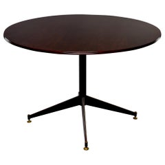 Midcentury French Walnut Round Table with Metal Base