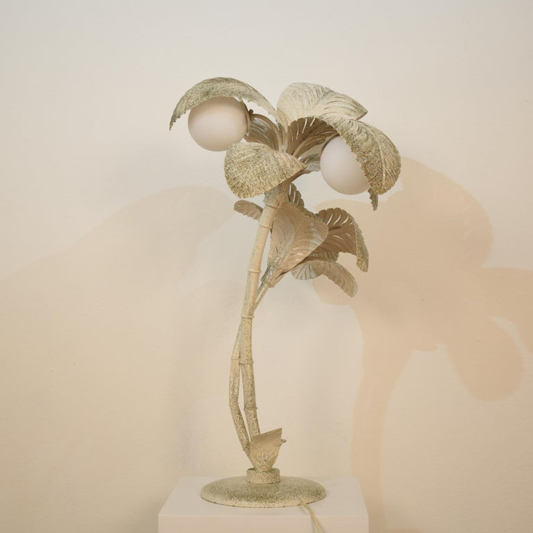 Late 19th Century Midcentury French White / Gold Lacquered Metal Palm Floor / Table Lamp, 1970 For Sale