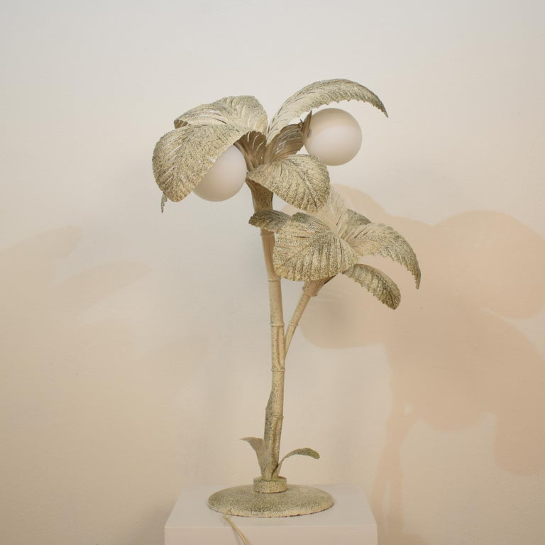 Opaline Glass Midcentury French White / Gold Lacquered Metal Palm Floor / Table Lamp, 1970 For Sale