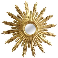 Midcentury French Wooden Sunburst Mirror