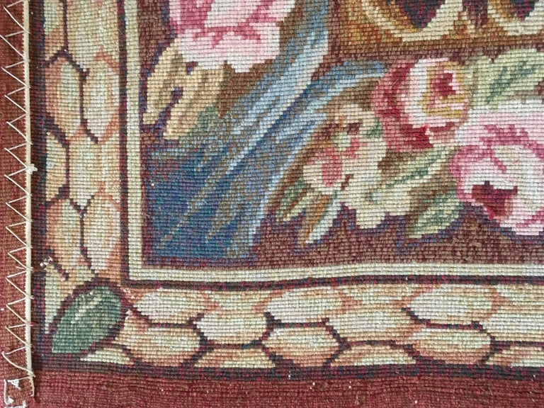 1960 French Rug In Neoclassical Style With Pink And Blue