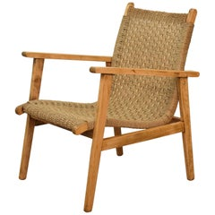 Midcentury French Woven Rope and Beech Lounge Chair in the Style Bas Van Pelt