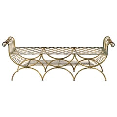 Midcentury French Wrought Iron and Gilded with Gold Leaf Bench or Small Sofa