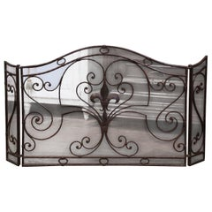 Mid-Century French Wrought Iron Three-Panel Fireplace Screen with Fleur-de-Lys