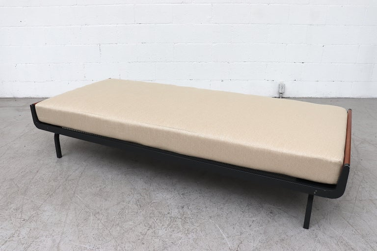 Dutch Mid-century Friso Kramer Inspired Daybed with Teak Ends for Auping For Sale