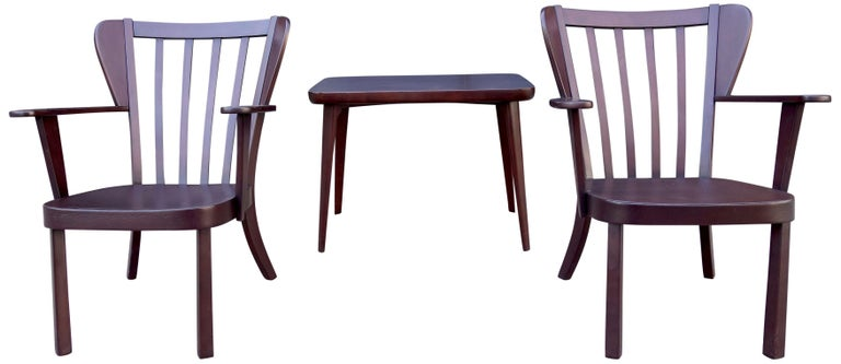 Midcentury Fritz Hansen Side Chairs and Side Table For Sale 3