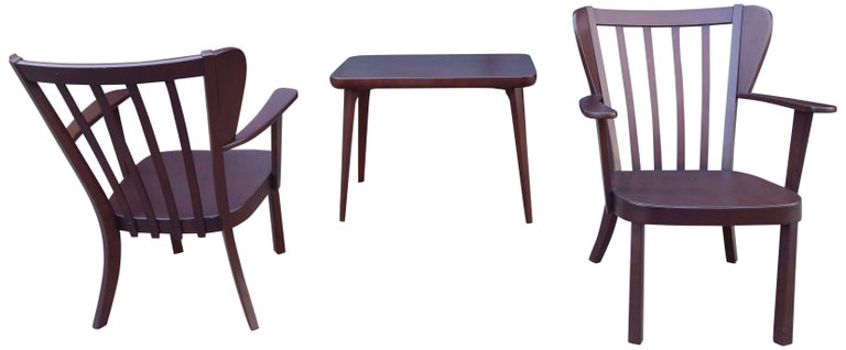 Midcentury Fritz Hansen Side Chairs and Side Table For Sale 5