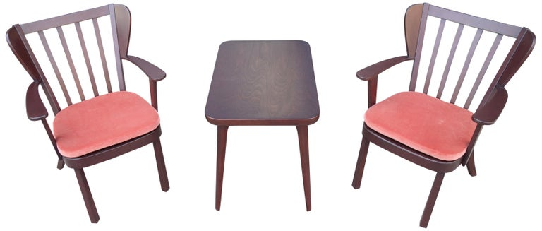 Danish Midcentury Fritz Hansen Side Chairs and Side Table For Sale