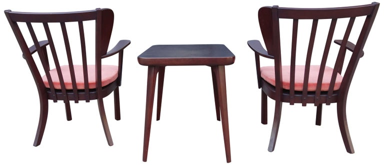 20th Century Midcentury Fritz Hansen Side Chairs and Side Table For Sale