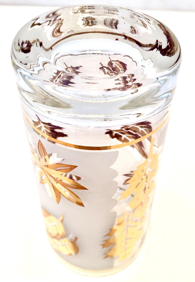 Mid-Century Frosted & 22 Karat Gold