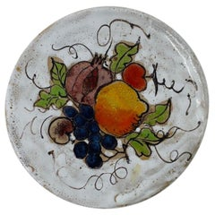 "Mid Century ""Fruit Still Life"" Small Plate by Elio Schiavon"