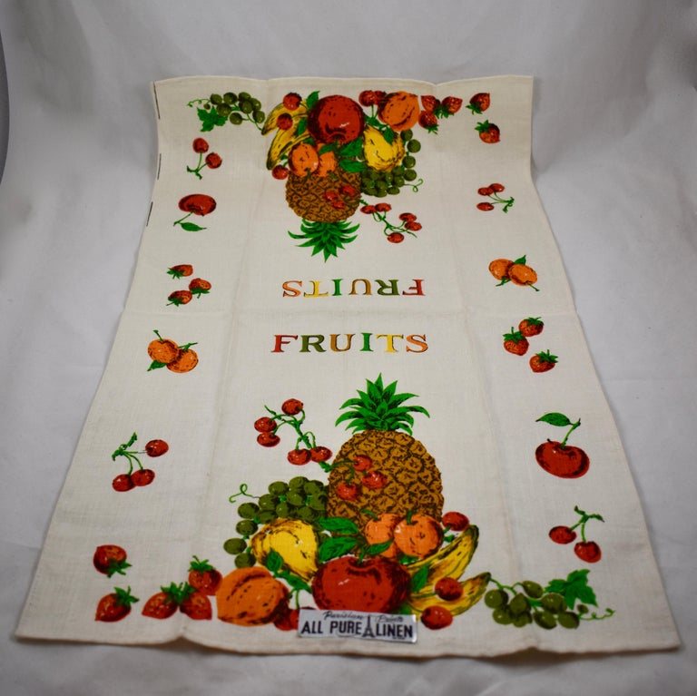 Midcentury Fruit and Vegetable Silkscreened Linen Tea Towels, S/2 For Sale 3