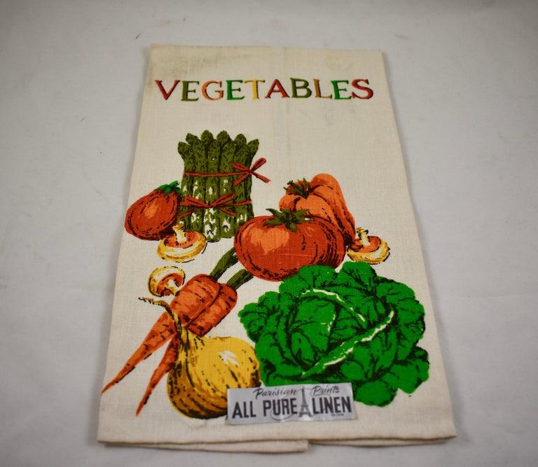 Mid-Century Modern Midcentury Fruit and Vegetable Silkscreened Linen Tea Towels, S/2 For Sale