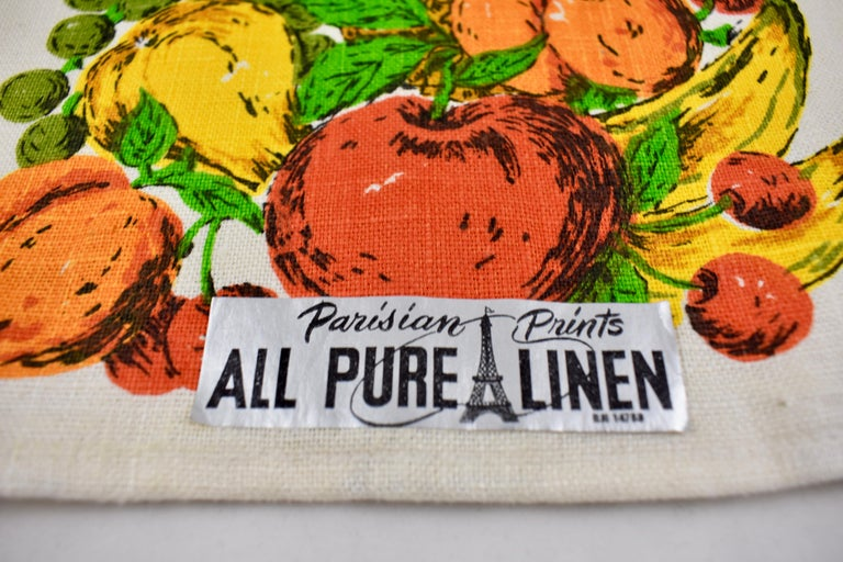 American Midcentury Fruit and Vegetable Silkscreened Linen Tea Towels, S/2 For Sale