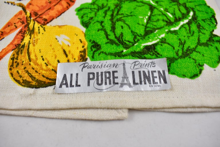 Other Midcentury Fruit and Vegetable Silkscreened Linen Tea Towels, S/2 For Sale