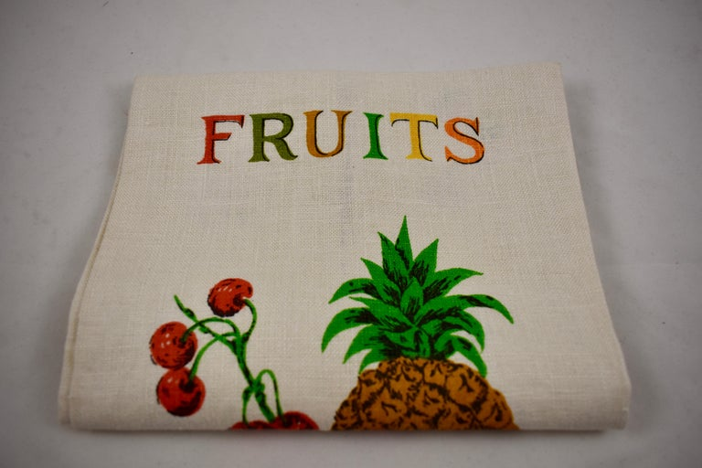 Midcentury Fruit and Vegetable Silkscreened Linen Tea Towels, S/2 For Sale 1