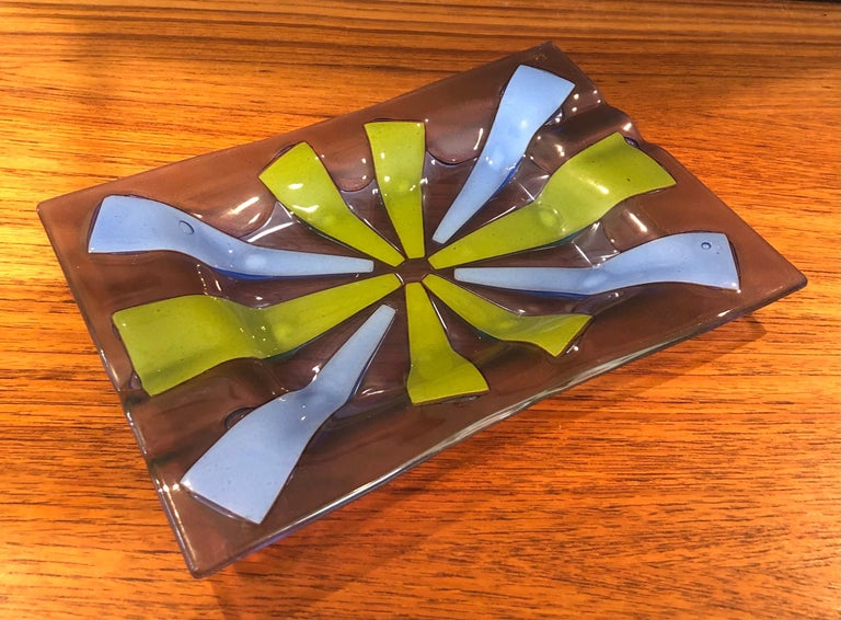 Mid-Century Modern Midcentury Fused Art Glass Ashtray by Higgins For Sale