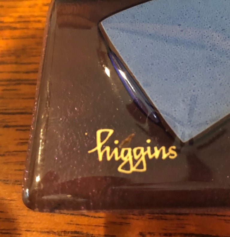 20th Century Midcentury Fused Art Glass Ashtray by Higgins For Sale