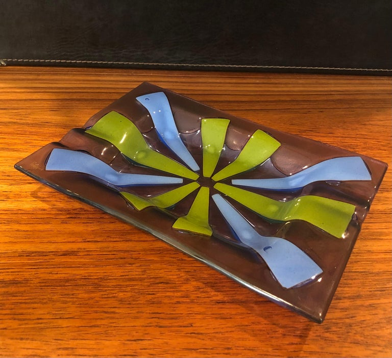 Midcentury Fused Art Glass Ashtray by Higgins For Sale 1