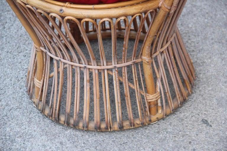 Midcentury garden chair in rattan Bonacina Italian design brown red, 1950s.