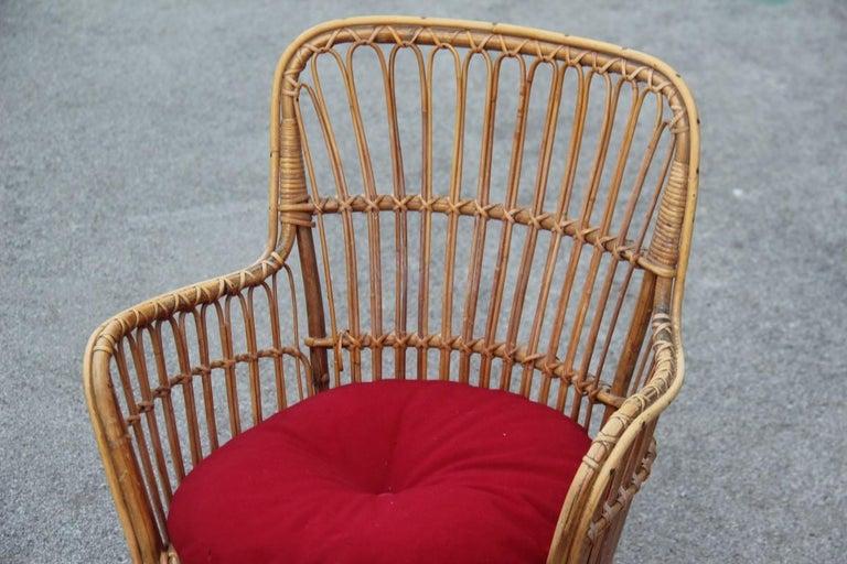 Mid-Century Modern Midcentury Garden Chair in Rattan Vintage Bonacina Italian Design, 1950s For Sale