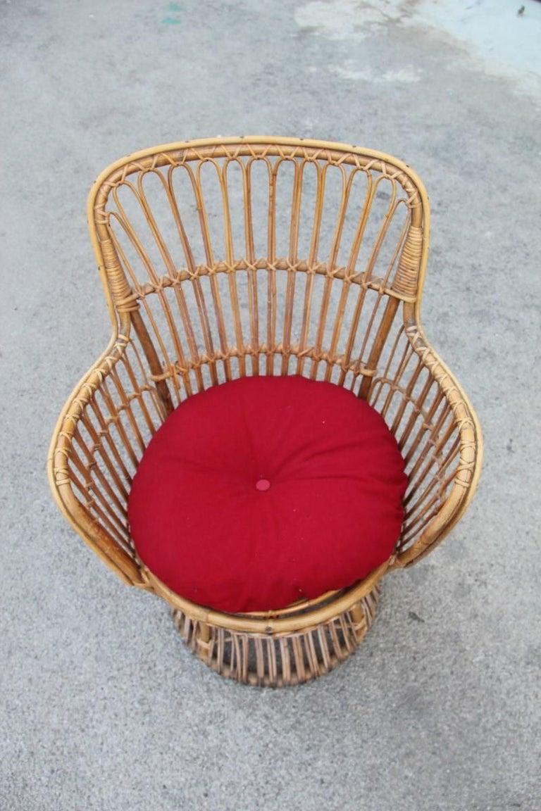 Midcentury Garden Chair in Rattan Vintage Bonacina Italian Design, 1950s In Good Condition For Sale In Palermo, Sicily