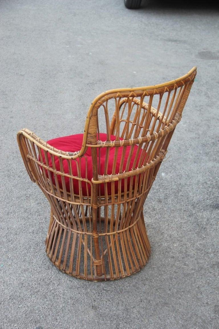 Mid-20th Century Midcentury Garden Chair in Rattan Vintage Bonacina Italian Design, 1950s For Sale