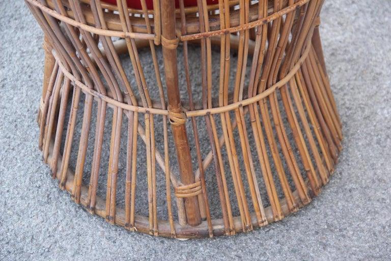 Midcentury Garden Chair in Rattan Vintage Bonacina Italian Design, 1950s For Sale 1