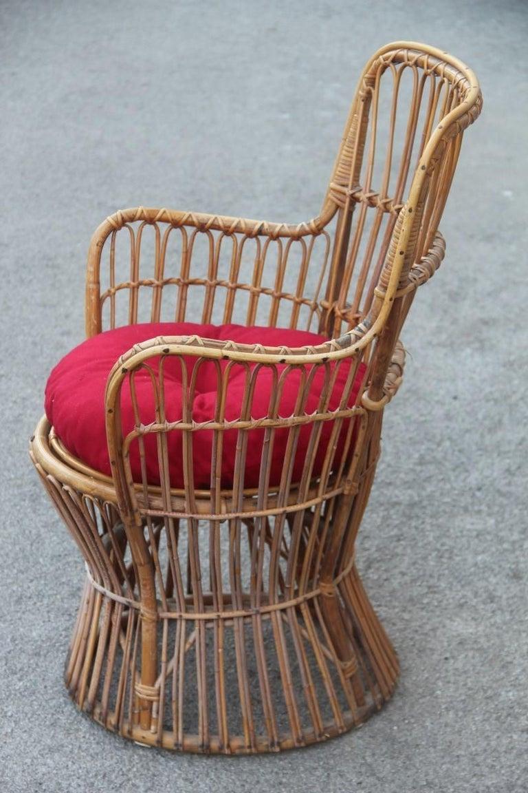 Midcentury Garden Chair in Rattan Vintage Bonacina Italian Design, 1950s For Sale 2