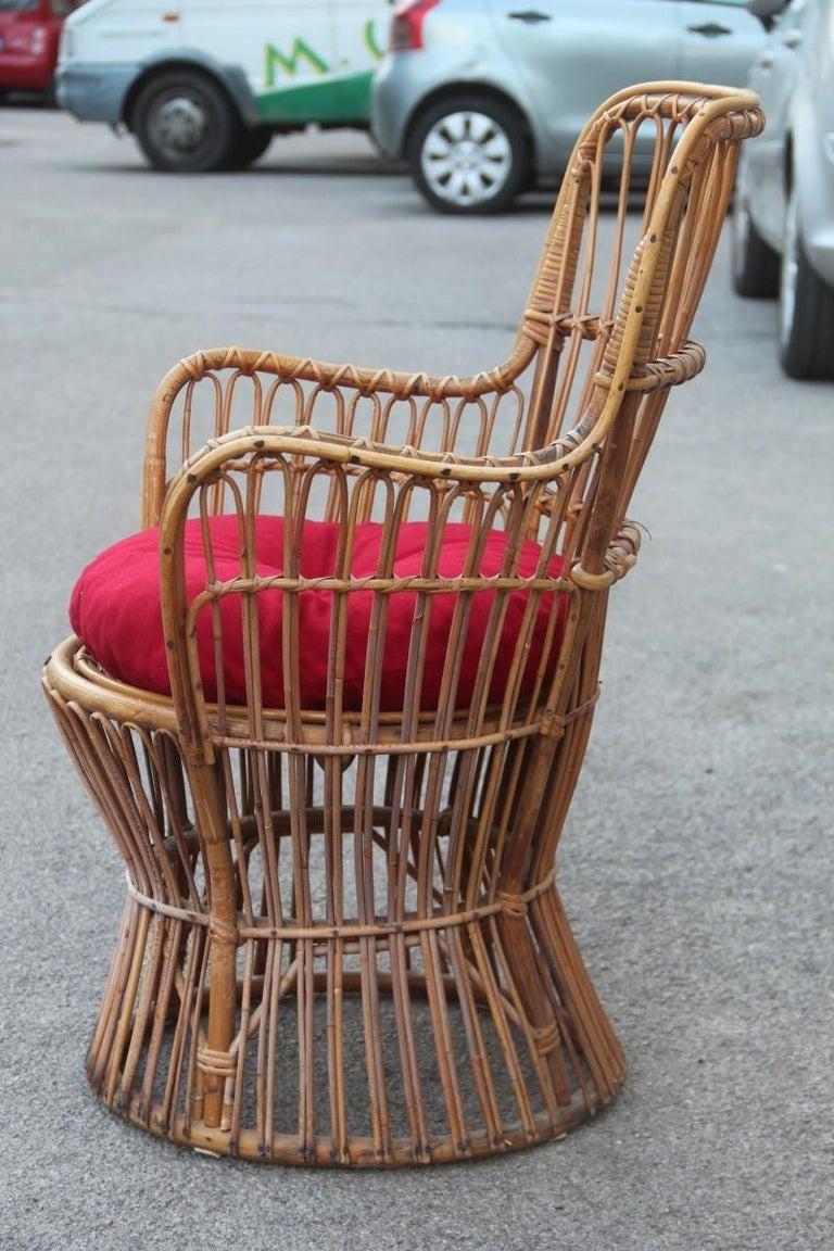 Midcentury Garden Chair in Rattan Vintage Bonacina Italian Design, 1950s For Sale 3
