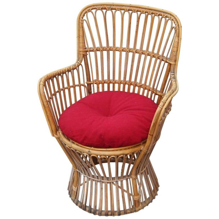 Midcentury Garden Chair in Rattan Vintage Bonacina Italian Design, 1950s For Sale
