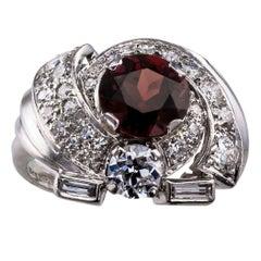 Midcentury Garnet Diamond Platinum Cluster Ring