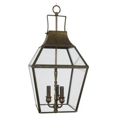 Midcentury Geometric Brass Finished Neoclassical Lantern