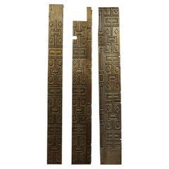 Midcentury Geometric Carved Oak Panels, 20th Century