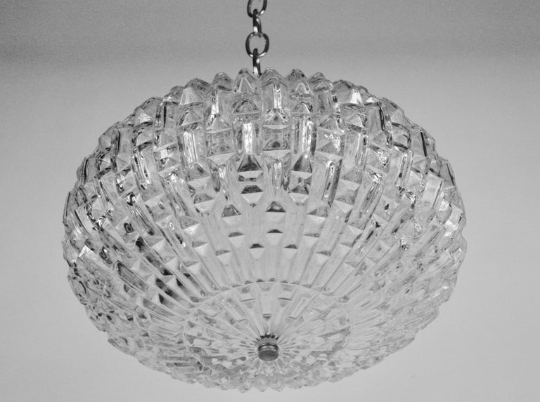 Midcentury Geometric Glass Pendant '2 available' In Good Condition For Sale In Douglas Manor, NY