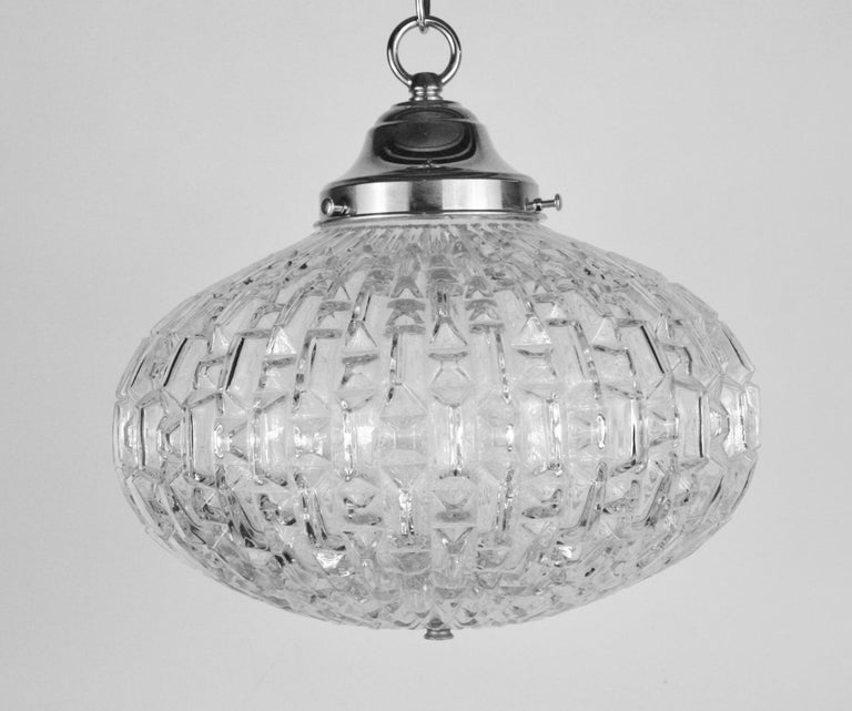 Midcentury Geometric Glass Pendant '2 available' For Sale 1