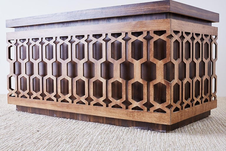 Midcentury Geometric Johnny Carson Style Desk For Sale 7
