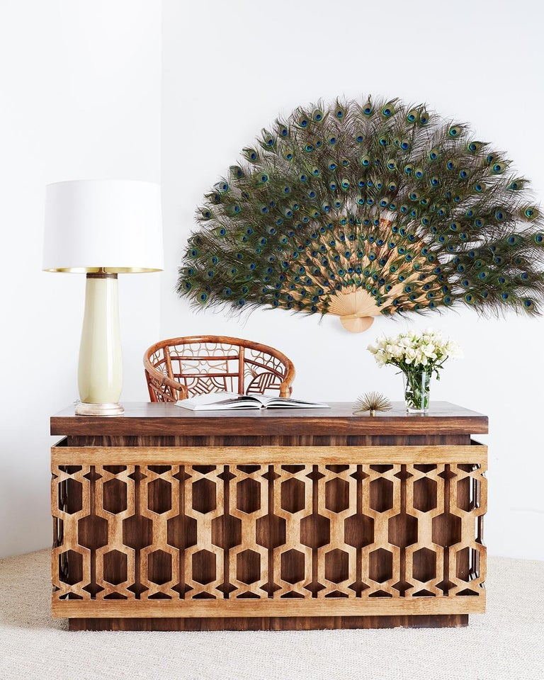 Historical Mid-Century Modern desk featuring a geometric lattice design on the front. Johnny Carson Tonight Show style one of several made for the show I'm dying up here portraying Johnny Carson played by Dylan Baker. From a studio production