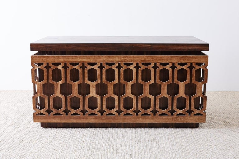 Mid-Century Modern Midcentury Geometric Johnny Carson Style Desk For Sale