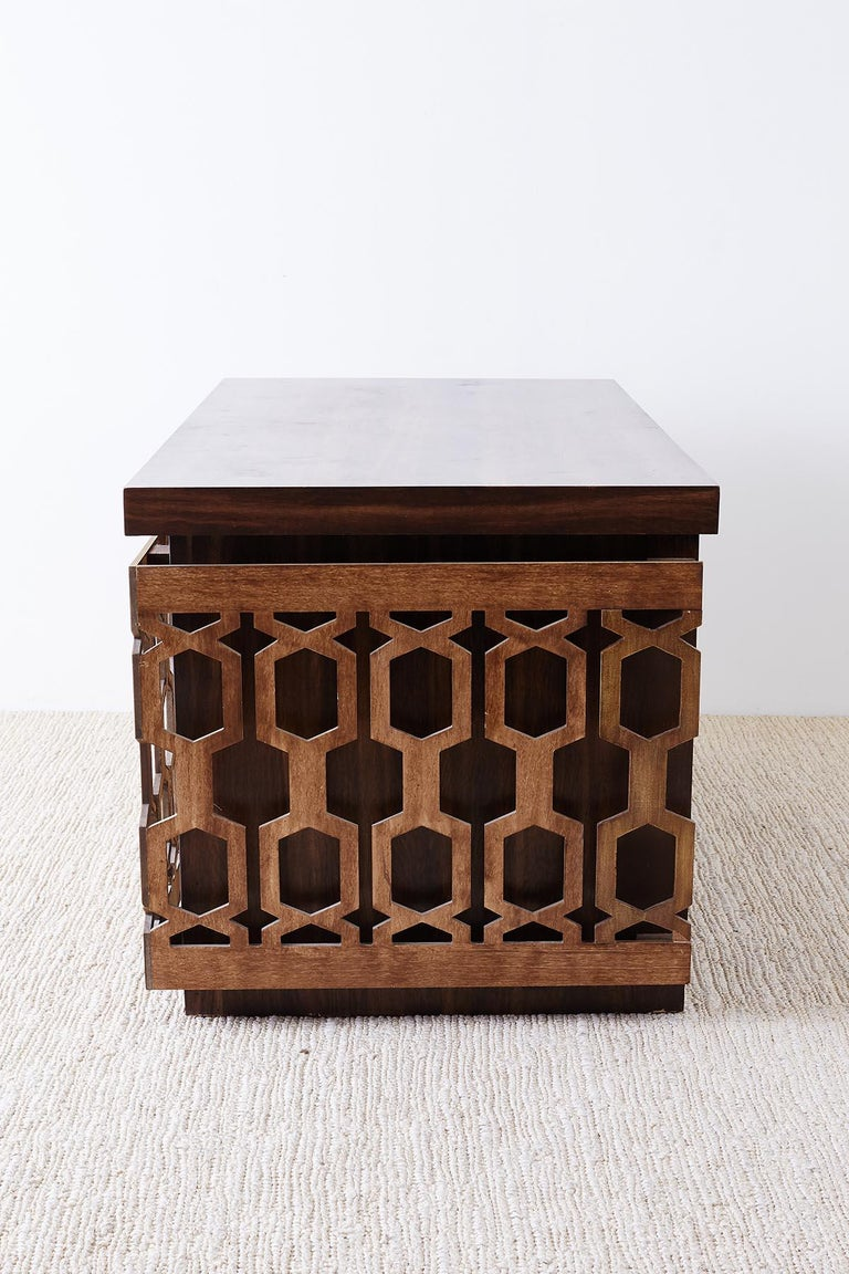 Wood Midcentury Geometric Johnny Carson Style Desk For Sale