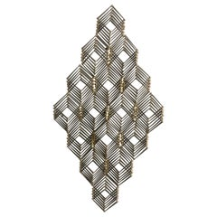Mid Century Geometric Metal and Brass Wall Sculpture
