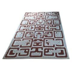 Midcentury Geometric Rug / Carpet in Ege Rya Style, Denmark, 1960s