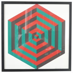 Midcentury Geometric Signed Print Artwork 'No.1'