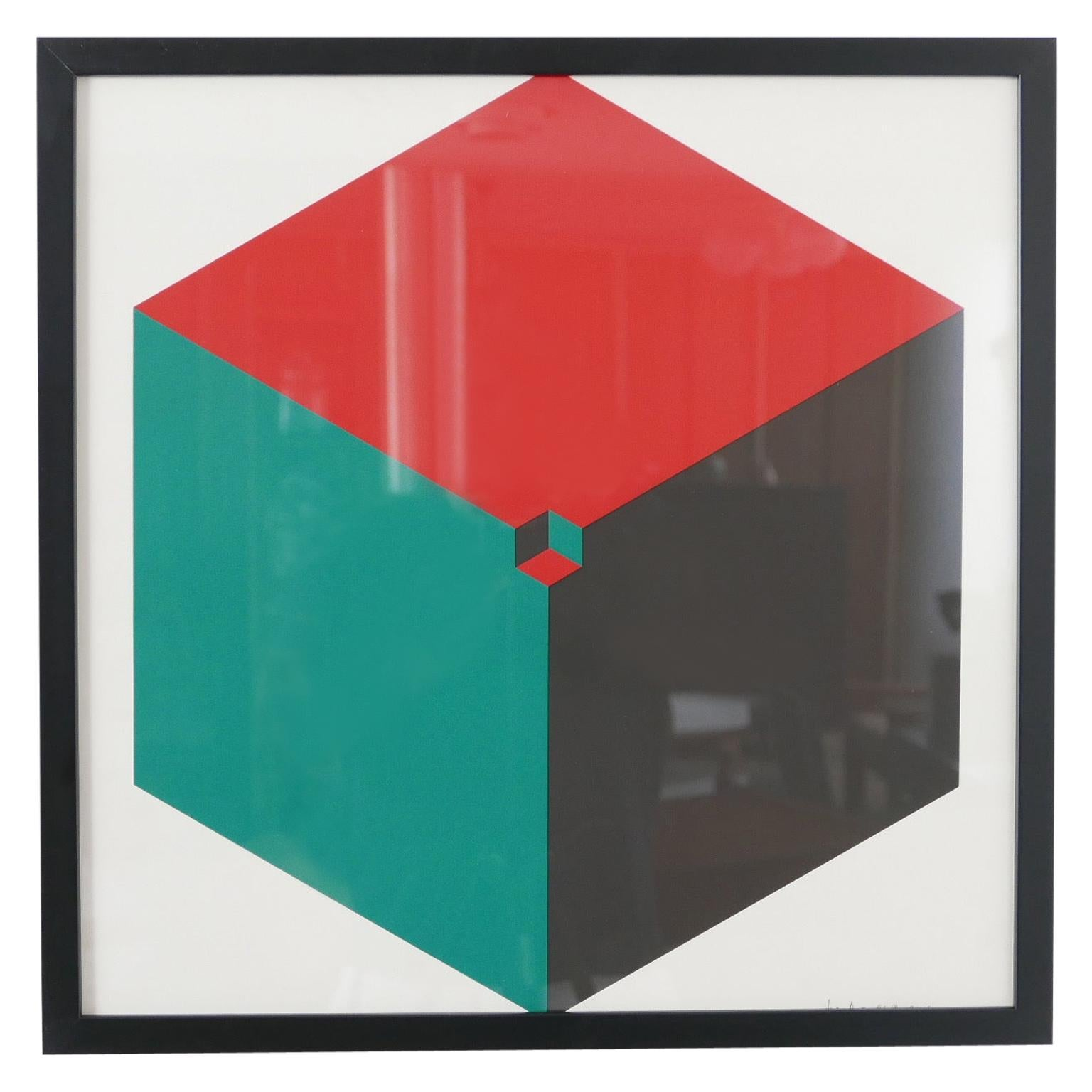 Midcentury Geometric Signed Print Artwork 'No.2'