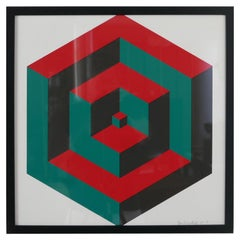 Midcentury Geometric Signed Print Artwork 'No.3'