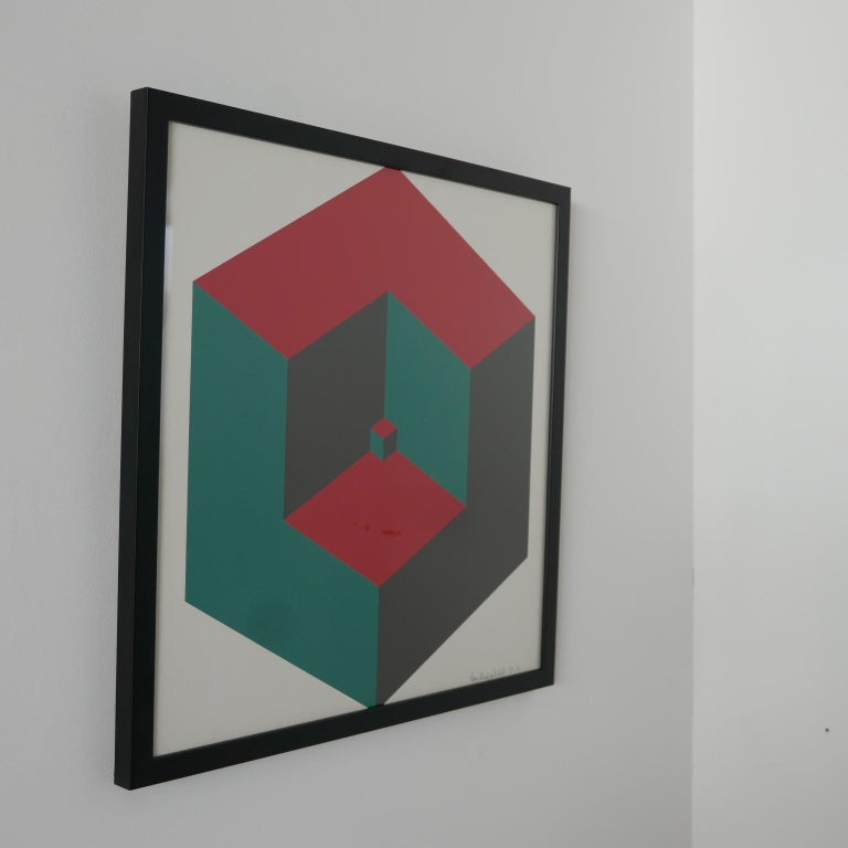 Mid-Century Modern Midcentury Geometric Signed Print Artwork 'No.4' For Sale